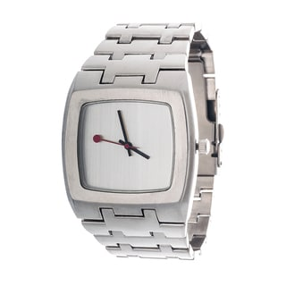 Via Nova Men's Elegant Silvertone Square Case Watch