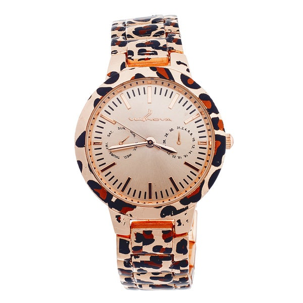 Via Nova Women's Rose Dial Brown Leopard Print Watch
