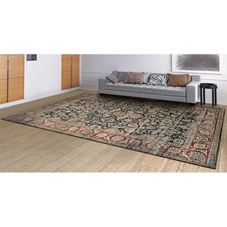 "Couristan Zahara Embellished Blossom Black-Red-Oatmeal Area Rug - 5'3"" x 7'6"""