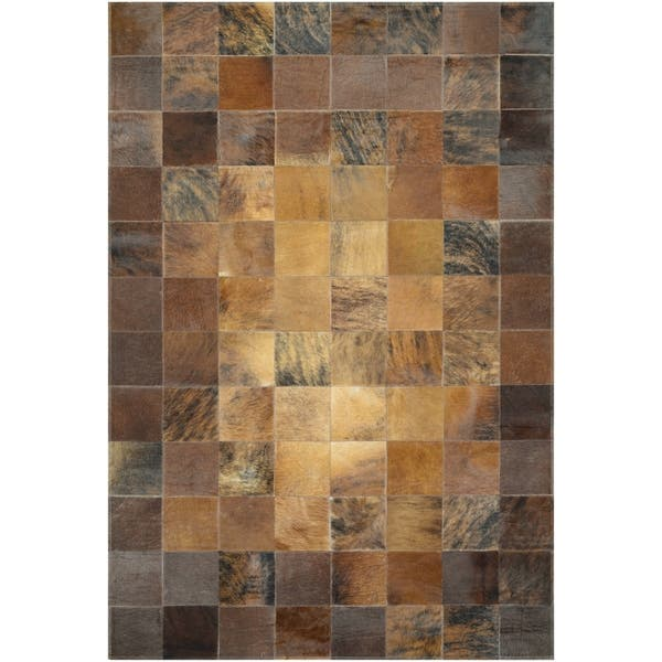 Hand Crafted Couristan Chalet Tile Brown Cowhide Leather Area Rug 5 4 X 8