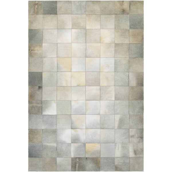 Couristan Chalet Tile Ivory Cowhide Leather Area Rug 5 X27