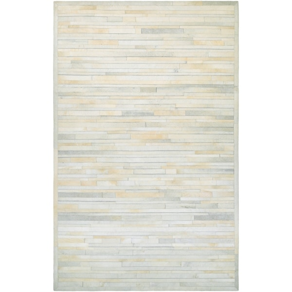 Couristan Chalet Plank Ivory Cowhide Leather Area Rug 5 X27