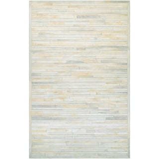 Couristan Chalet Plank/Ivory Cowhide Leather Area Rug - 5'6 x 8'
