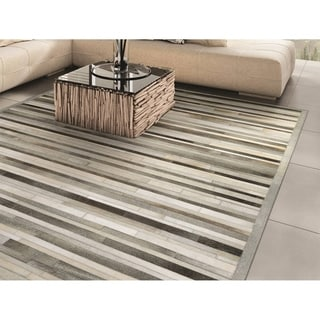 Hand-Crafted Chalet Plank/ Grey-ivory, Ethically Sourced Cowhide Leather Rug (5'6 x 8')