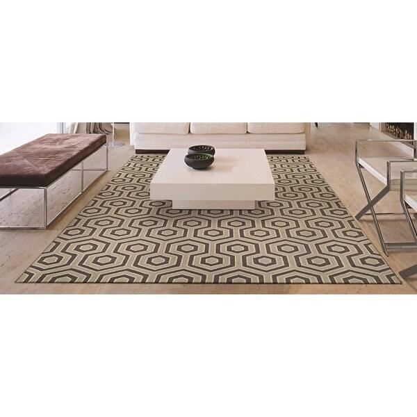 "Couristan Bowery Ainslie/Ivory-Grey Wool Area Rug - 5'2"" x 7'4"""