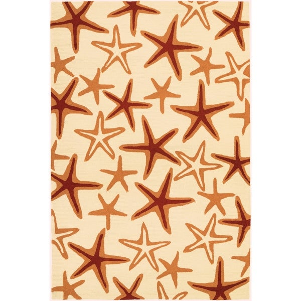 Couristan Beachfront Starfish/Ivory-Coral Indoor/Outdoor Area Rug - 5'6 x 8'