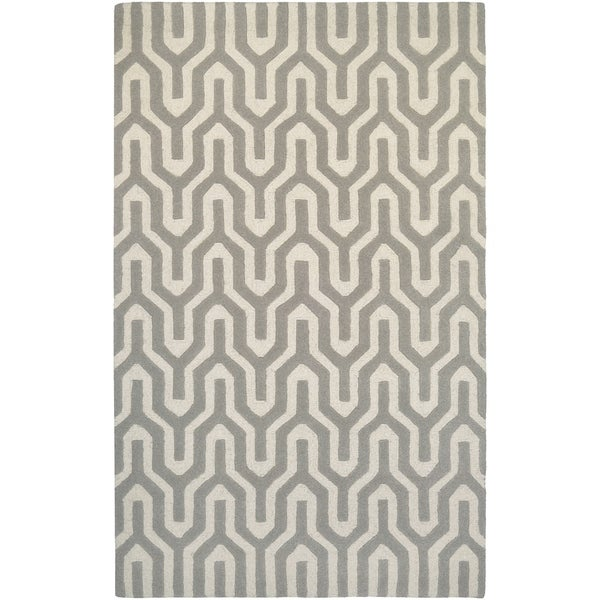 "Hand-Crafted Barlow Wishingbone White/Gray Area Rug - 5'6"" x 8'"