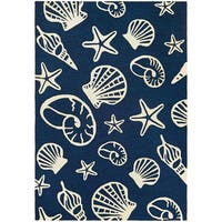 Couristan Outdoor Escape Cardita Shells/ Navy and Ivory Area Rug - 5'6 x 8'