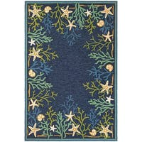Picadilly Coral Reef/ Blue-Green Indoor/Outdoor Rug - 5'6 x 8'