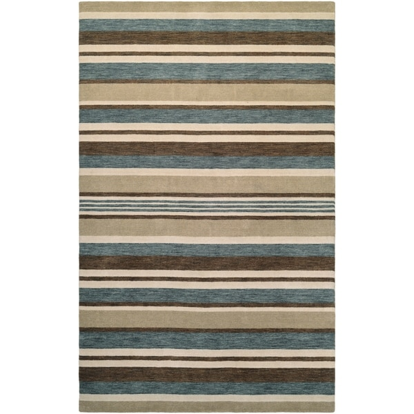 Couristan Mystique Bliss/Ivory-Teal-Brown Wool Area Rug - 4'10 x 7'10