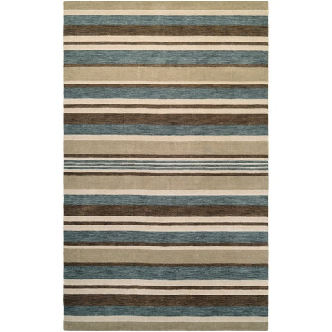 "Couristan Mystique Bliss/Ivory-Teal-Brown Wool Area Rug - 4'10"" x 7'10"""