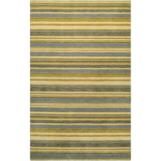 Couristan Mystique Destiny/Ivory-Olive-Cornflower Wool Area Rug - 4'10 x 7'10
