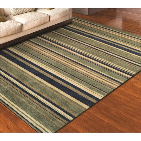 "Couristan Mystique Allure/ Azure-Mint Wool Rug - 4'10"" x 7'10"""