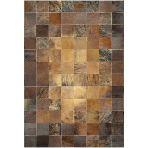 "Hand-Crafted Couristan Chalet Tile Brown Cowhide Leather Area Rug - 3'4"" x 5'4"""