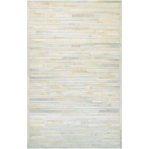 Couristan Chalet Plank Ivory Cowhide Leather Area Rug 3 X27