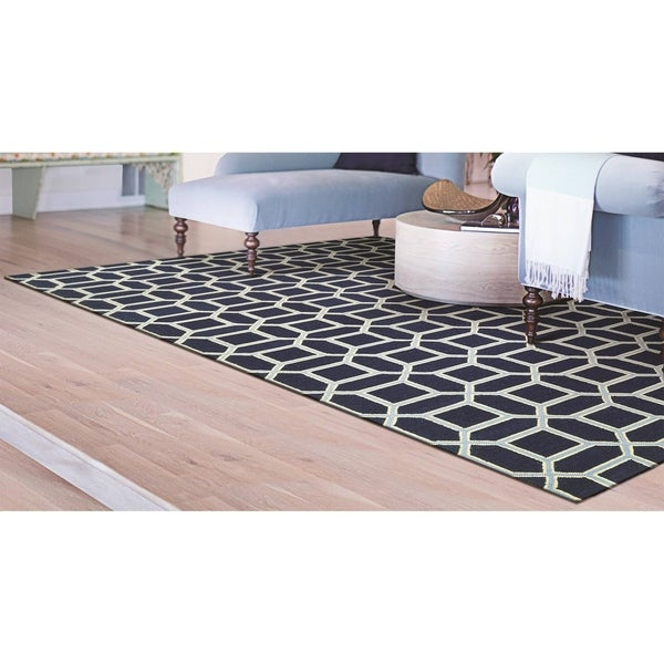 "Couristan Bowery Havemeyer/Sapphire-Sky Blue Wool Area Rug - 3'4"" x 5'4"""