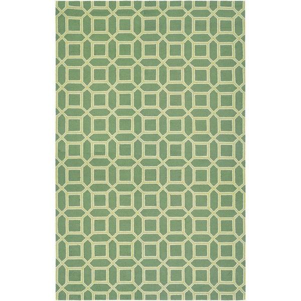 "Couristan Bowery Havemeyer/Fern-Yellow Wool Area Rug - 3'4"" x 5'4"""