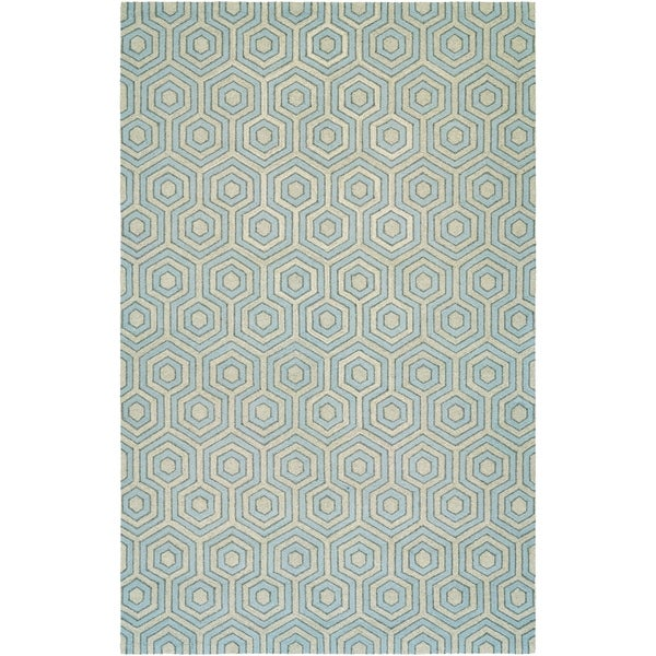 "Couristan Bowery Ainslie/Grey-Sky Blue Wool Area Rug - 3'4"" x 5'4"""