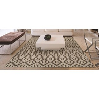 "Couristan Bowery Ainslie/Ivory-Grey Wool Area Rug - 3'4"" x 5'4"""