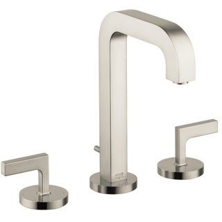 Axor Citterio Widespread Brushed Nickel Bathroom Faucet with Lever Handle