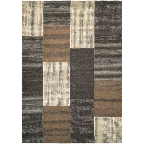 "Couristan Super Indo-Natural Luster/Brown Wool Area Rug - 3'6"" x 5'6"""