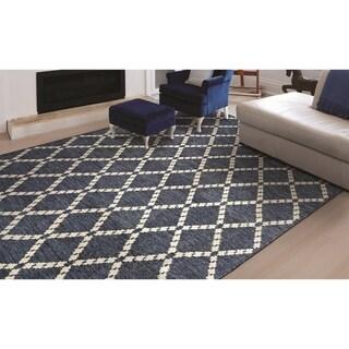 "Couristan Retrograde Nova/Sapphire-Ivory Wool Area Rug - 3'5"" x 5'5"""