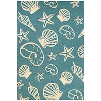 "Couristan Outdoor Escape Cardita Shells Turquoise-Ivory Indoor/Outdoor Rug - 3'6"" x 5'6"""