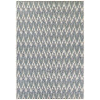 "Samantha Zigzag Ivory-Blue Indoor/Outdoor Area Rug - 3'9"" x 5'5"""