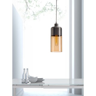 Vente Satin and Amber Ceiling Lamp
