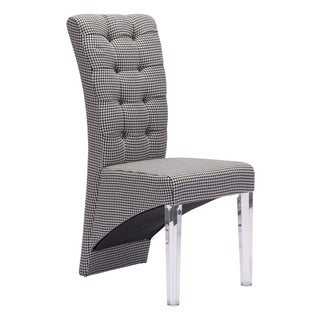 Waldorf Houndstooth Fabric and Acrylic Modern Dining Chair (set of 2)