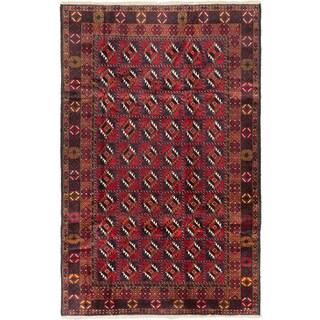 Ecarpetgallery Royal Balouch Camel, Red Wool Open Field Rug Rectangular (6'4 x 9'7)