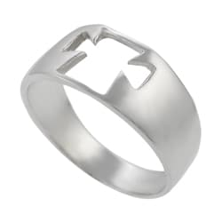 Journee Collection  Sterling Silver Cut-out Cross Ring