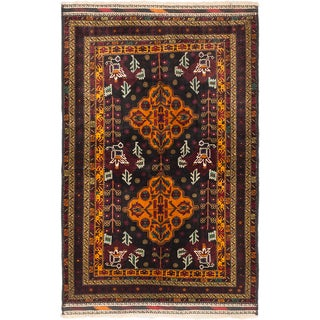 Ecarpetgallery Finest Rizbaft Black, Dark Orange Wool Geometric Rug Rectangular (4'5 x 6'10)