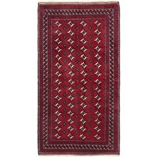 Ecarpetgallery Royal Balouch Dark Red Wool Open Field Rug Rectangular - 3'5 x 6'5