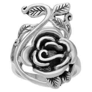 Journee Collection Women's Sterling-silver Vine and Rose Ring with High-polish Finish