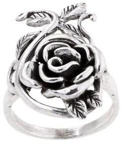 Sterling Silver Rose Leaf Vine Statement Ring