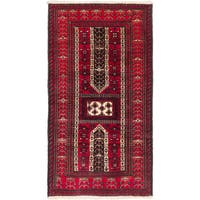 Ecarpetgallery Finest Mouri Dull Red, Red Wool Open Field Rug Rectangular