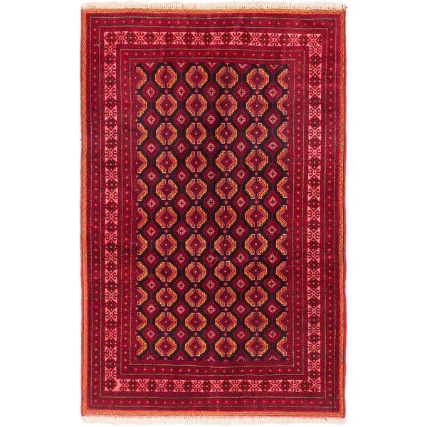 Ecarpetgallery Finest Mouri Black, Red Wool Open Field Rug Rectangular