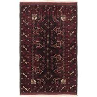 Ecarpetgallery Finest Rizbaft Black, Dark Red Wool Geometric Rug Rectangular - 4'4 x 6'11