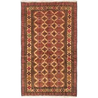 Ecarpetgallery Finest Mouri Khaki, Red Wool Open Field Rug Rectangular (3'8 x 6'3)