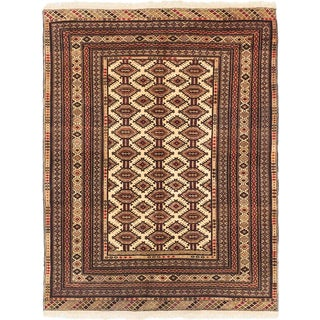 Ecarpetgallery Finest Mouri Cream, Khaki Wool Open Field Rug Rectangular (4'5 x 5'8)