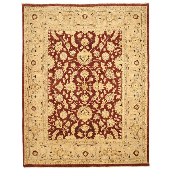 """Hand-knotted Wool Red Traditional Oriental Peshawar Rug - 9' x 11'6"""""""