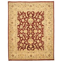 Hand-knotted Wool Red Traditional Oriental Peshawar Rug - 9' x 11'6
