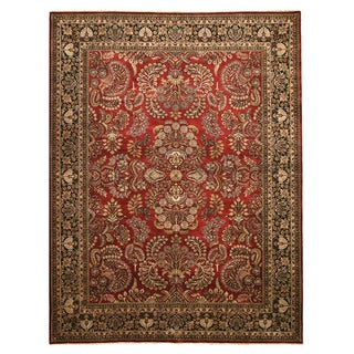 EORC Hand Knotted New Zealand Wool Red New Zealand Sarouk Rug (9'2 x 11'11)