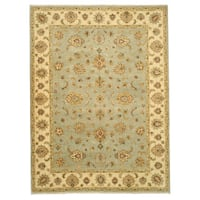 Hand-knotted Wool Blue Traditional Oriental Agra Rug - 9' x 12'