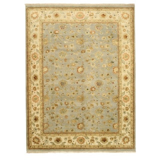 EORC Hand Knotted Wool & Silk Blue Jaipur Rug (9' x 11'10)