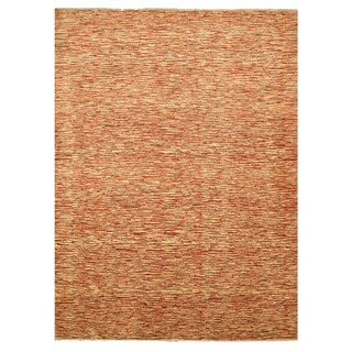 Hand-knotted Wool Red Contemporary Stripe Peshawar Rug (9'2 x 12')