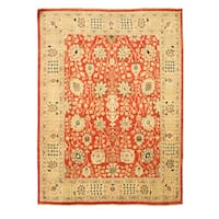 Hand-knotted Wool Red Traditional Oriental Peshawar Rug - 8'10 x 11'10