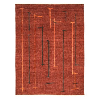 Hand-knotted Wool Red Contemporary Abstract Peshawar Rug (8'9 x 11'5)
