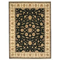 Hand-knotted Wool Black Traditional Oriental Agra Rug - 9'1 x 12'1
